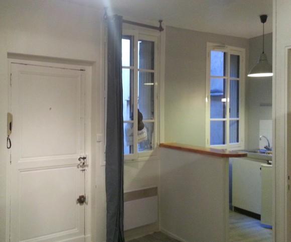 Studio et cuisine après rénovation